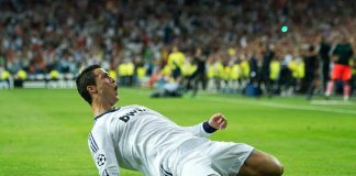 Cristiano Ronaldo of Real Madrid celebrates scoring his sides winning goal during the Uefa Champions League group D match between Real Madrid and Manchester City.