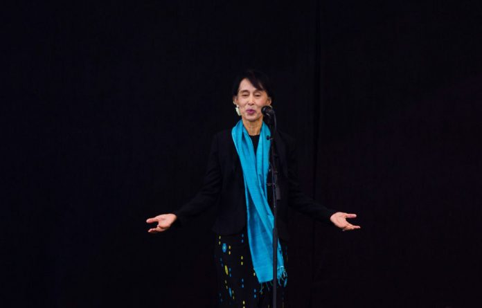 Burma opposition leader Aung San Suu Kyi addresses the audience at a concert in Oslo on June 16.