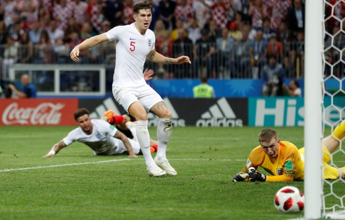 Croatia's Ivan Perisic hits the post with a shot.