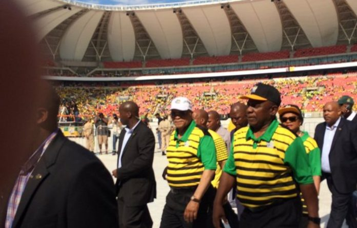 President Jacob Zuma and Deputy President Cyril Ramaphosa arrive at the Nelson Mandela Bay stadium for the ANC Manifesto Launch on April 16