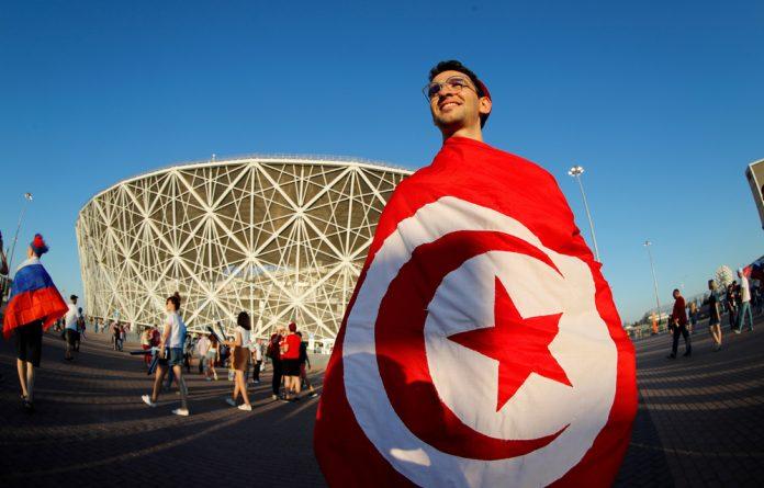 A Tunisia fan outside the Volgograd Arena.