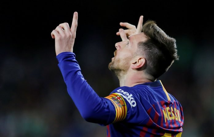 Lionel Messi celebrates his 51st career hat-trick.