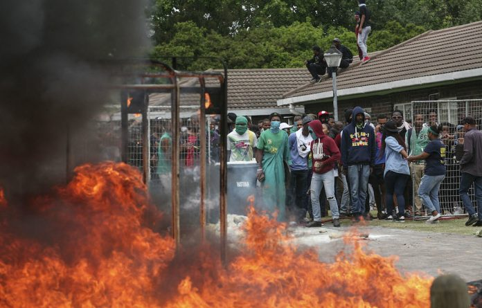 A #FeesWillFall protest at UWC.