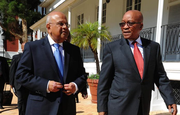 President Jacob Zuma accompanies Finance Minister Pravin Gordhan to Parliament.
