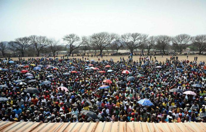 Miners gathered at Blesbok Stadium