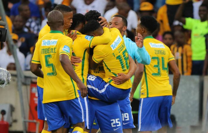 Good times: Mamelodi Sundowns players celebrate a victory.