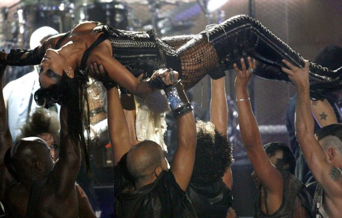 Laced into leather: Rihanna performs at the 2008 MTV Video Music Awards.