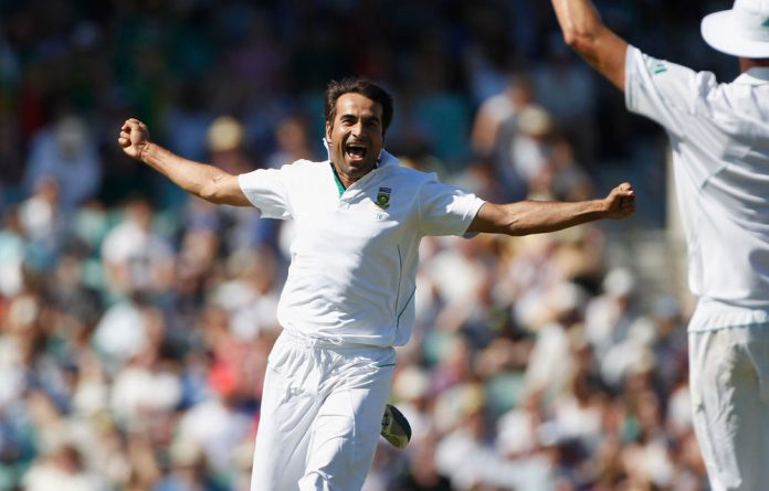 Imran Tahir of South Africa celebrates taking the final wicket of James Anderson of England and winning the match between England and South Africa.