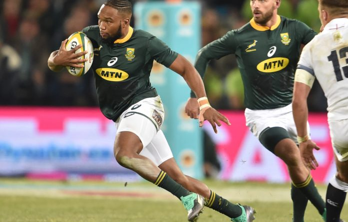 Lukhanyo Am of the Springboks during the 2018 Castle Lager Incoming Series match between South Africa and England at Toyota Stadium on June 16