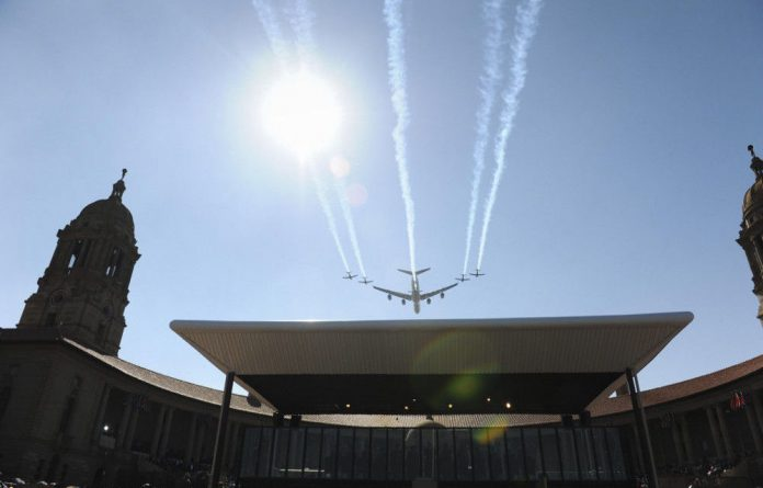 SA Air Force planes fly over President Jacob Zuma's inauguration at the Union Buildings in Pretoria on Saturday.