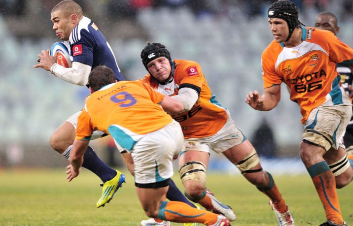Bryan Habana of the Stormers and Lappies Labuschagne of the Cheetahs during the Super Rugby match between Toyota Cheetahs and DHL Stormers from Free State Stadium in Bloemfontein.