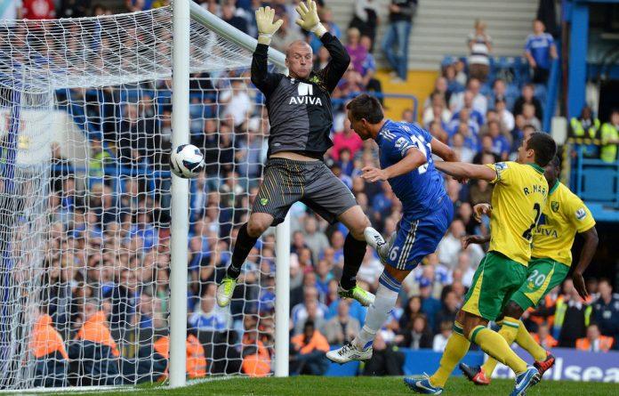 Norwich City's English goalkeeper John Ruddy