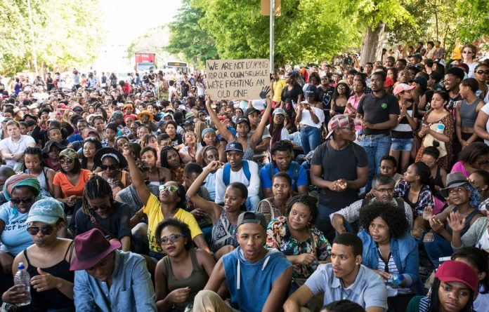 UCT students protest against higher education fees.
