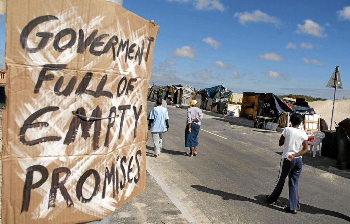 Poor people without homes have been involved in several service delivery protests across South Africa.