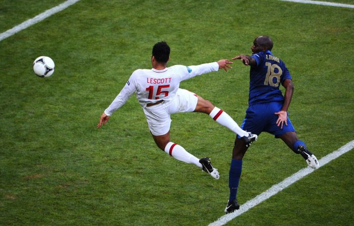Joleon Lescott of England scores the first goal during the Uefa Euro 2012 group D match between France and England.