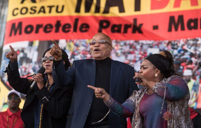 President Jacob Zuma during Cosatu's May Day celebrations.