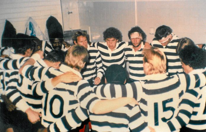 Scrumming against apartheid: The De Akker Vyftiental rugby club in the Stellenbosch pub from which they took their name.