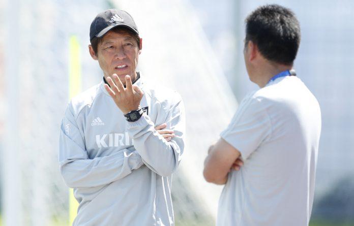Japan coach Akira Nishino during training