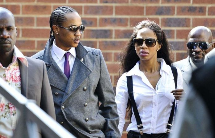 Jub Jub and his then girlfriend Kelly Khumalo at the Protea Magistrate's Court in Soweto.