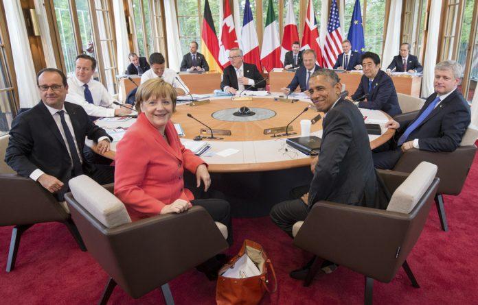 Members of the G7 group attend a summit at Elmau Castle hotel in Kruen near Garmisch-Partenkirchen