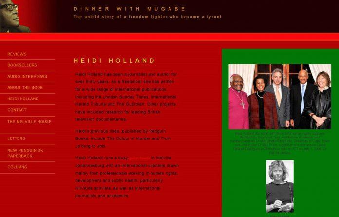 A screengrab of Heidi Holland's Dinner with Mugabe website.