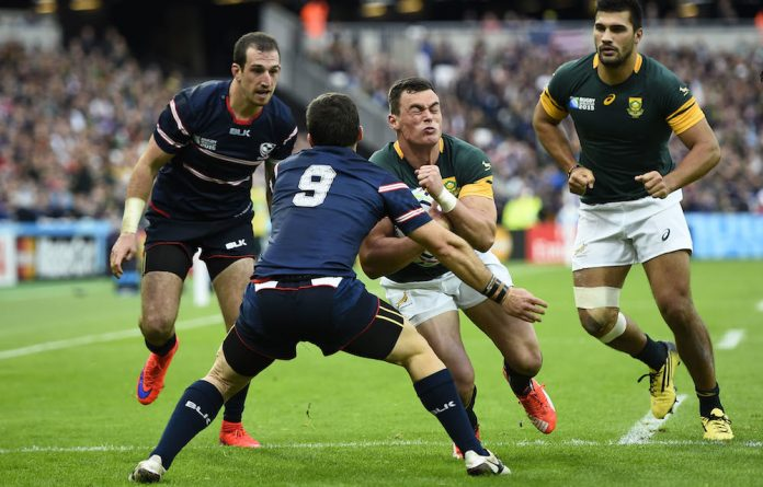 Breakthrough: The centre combination of Jesse Kriel and Damian de Allende can release South Africa's speedy wings.
