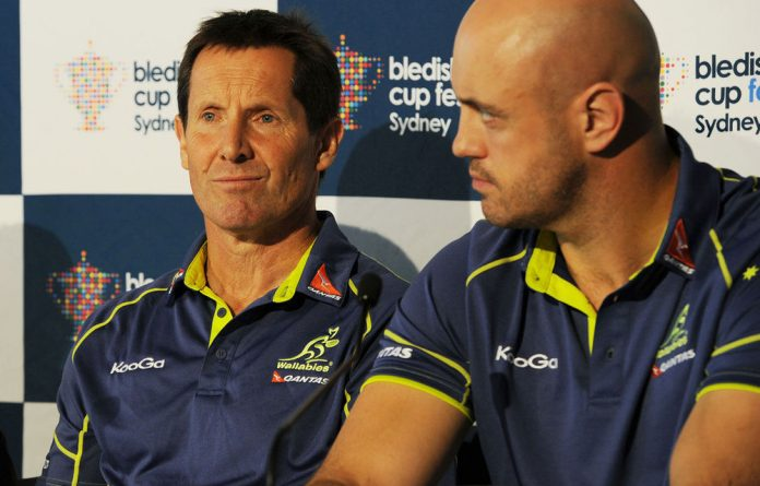 Australian Qantas Wallabies coach Robbie Deans and Wallabies lock Nathan Sharpe