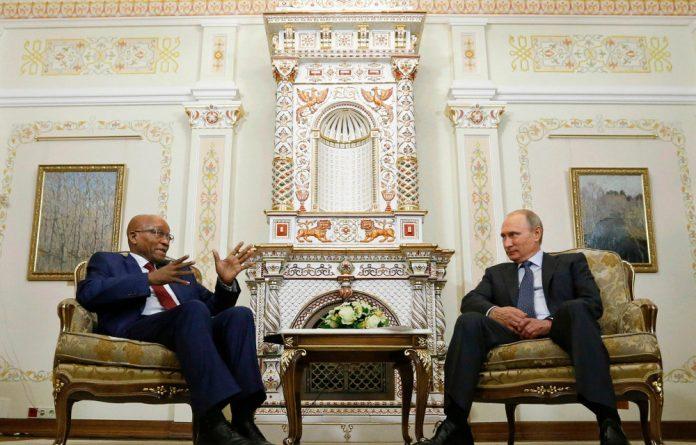 President Jacob Zuma and Vladimir Putin.