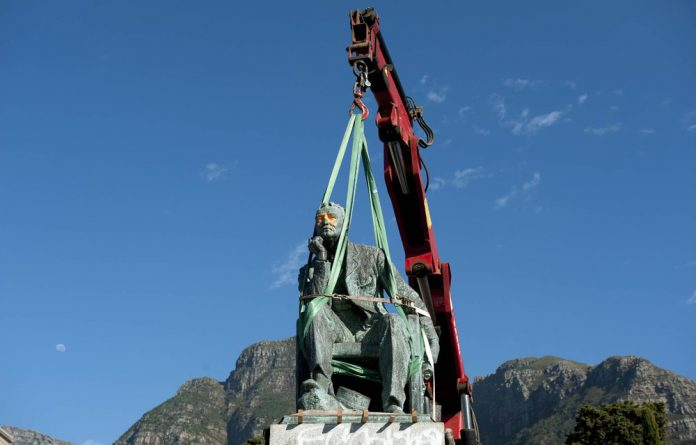 The statue of Cecil John Rhodes is in the process of being removed.
