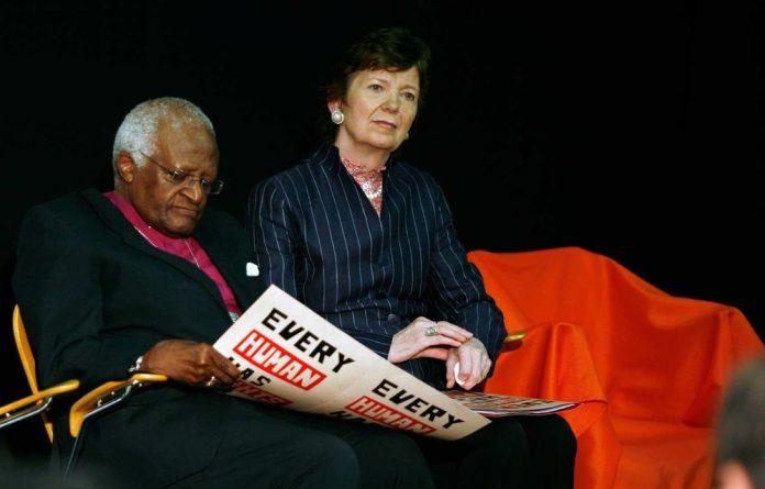 Archbishop Emeritus Desmond Tutu with UN High Commissioner Mary Robinson.