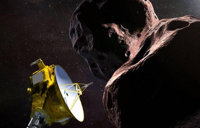 "Illustration of Nasa's New Horizons spacecraft encountering 2014 MU69 – nicknamed ""Ultima Thule"" – a Kuiper Belt object that orbits one billion miles beyond Pluto."