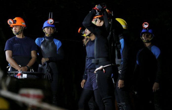 Some of the rescue drivers who have worked on removing the trapped football club from the cave.