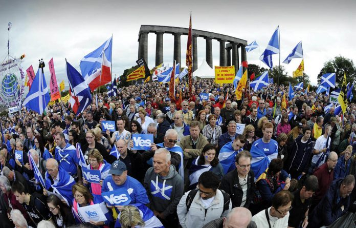 Scotland pro-independence supporters in Edinburgh.