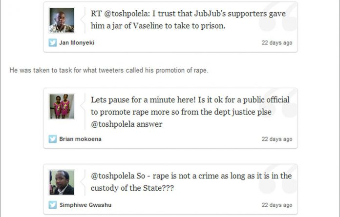 Newspaper reports say Hawks spokesperson McIntosh Polela has been suspended three weeks after tweeting a controversial reference to prison rape.