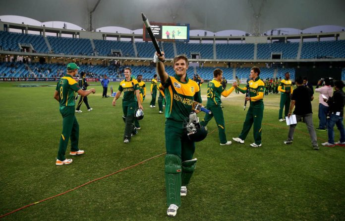 Aiden Markram celebrates leading the South African team to victory in the under-19 World Cup.