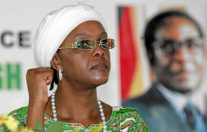 """Grace Mugabe claimed an """"unhinged"""" Engels was the actual aggressor and filed court papers saying the model had attacked her """"with a knife""""."""
