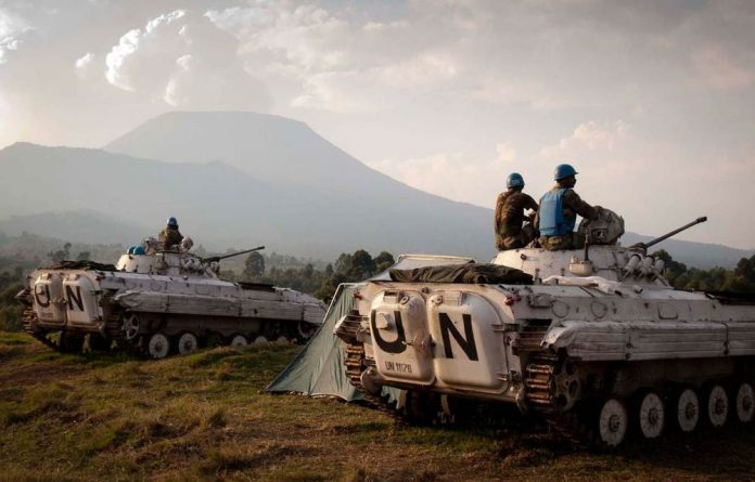 UN peacekeepers in DR Congo. The country is seen as victim of 'distance decay' - the diminishing of state power as one moves away from the centre. State control of its territory is increasingly challenged in Africa.