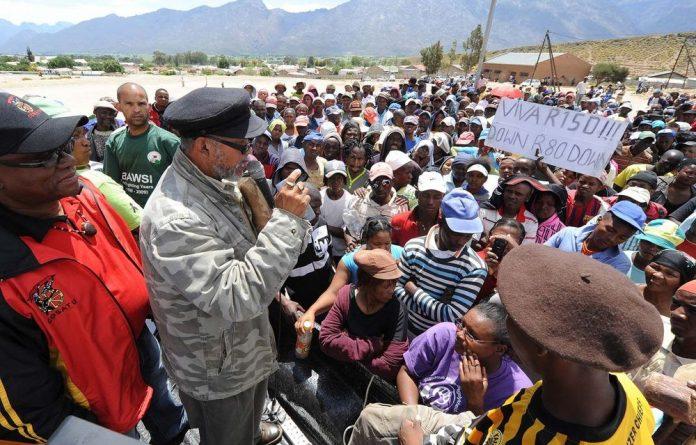 Striking workers in De Doorns are demanding R150 per day in wages.