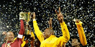 Kaizer Chiefs players Itumeleng Khune and Arthur Bartman celebrates winning the Gauteng Cup during the Gauteng Sport Challenge final match.