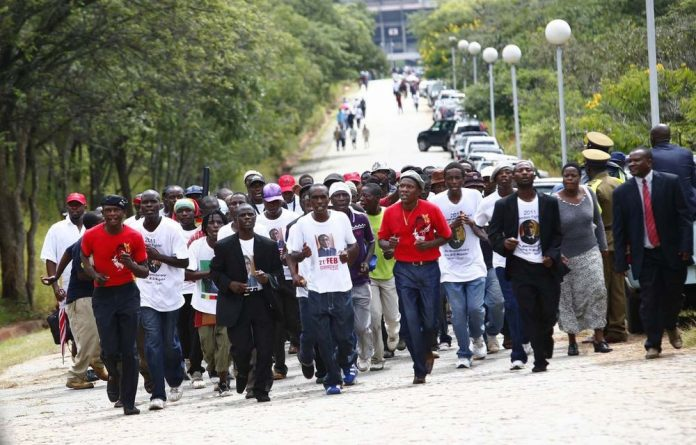 Members of the Chipangano sing and march in Harare's Heroes Acre.