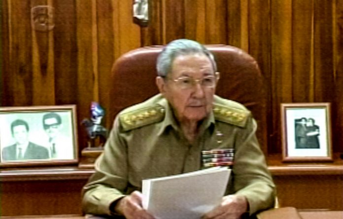 Screenshot from Cuban TV showing President Raul Castro addressing the country regarding Cuba agreeing to re-establish diplomatic ties with the United States.
