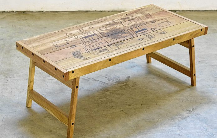 A fine line: Atang Tshikare's deceptively simple drawings on the table he produced with Cameron Barnes Furniture.