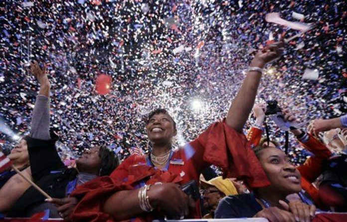 Supporters of Obama celebrate his re-election to the White House.