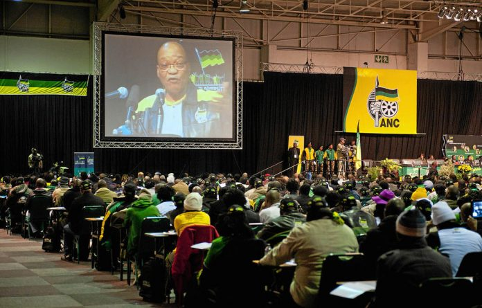 Jacob Zuma delivering a peech at the ANC policy conference.