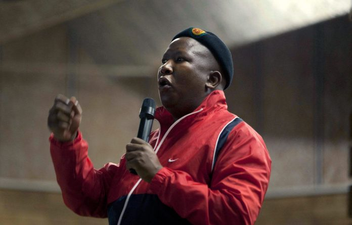 Julius Malema lets rip at a rally in North West.