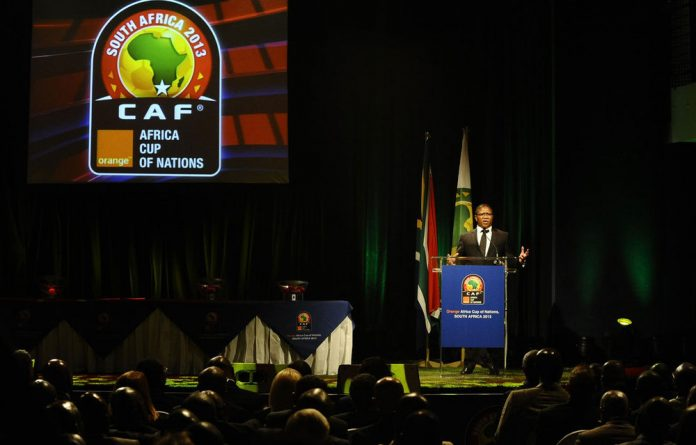 Minister of Sport Fikile Mbalula spoke at the Orange Afcon 2013 preliminary draw at Emperors Palace on July 5.