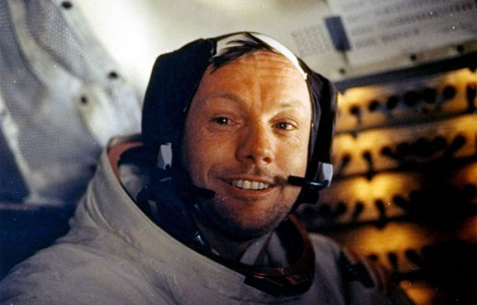 Peak of progress: Neil Armstrong on July 20 1969. The first man to walk on the moon died on Saturday at age 82.