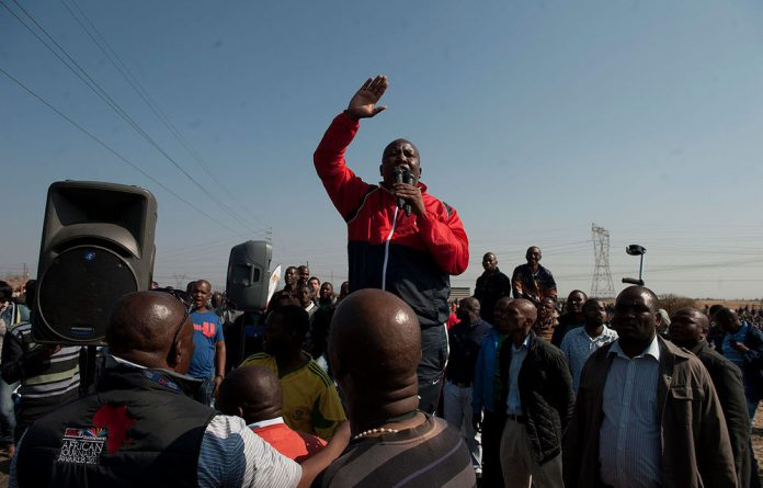 Expelled ANC Youth League president Julius Malema addressing Lonmin miners in Marikana after 34 workers were shoot by police.