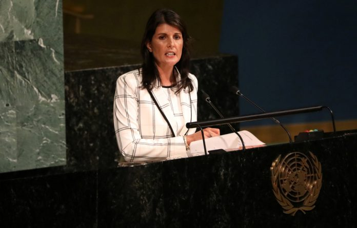 U.S. Ambassador Nikki Haley addresses a General Assembly meeting ahead of a vote on a draft resolution that would deplore the use of excessive force by Israeli troops against Palestinian civilians.