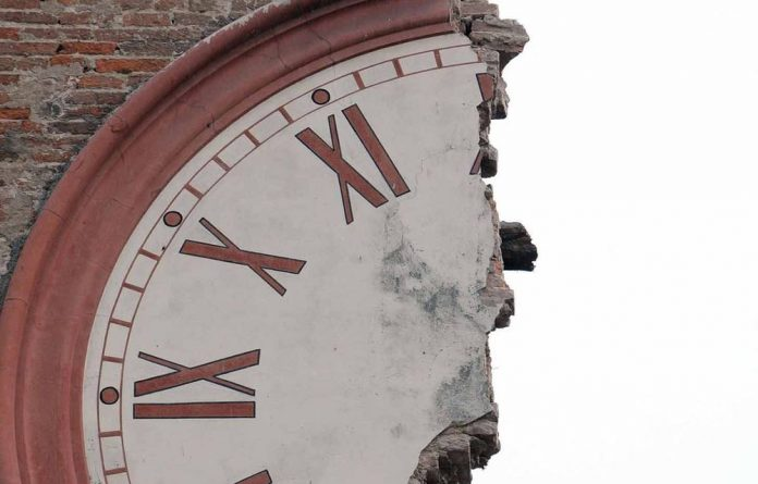 The damaged clock tower of Finale Emilia